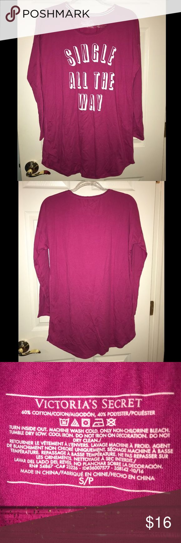 """Victoria/'s Secret Long Sleeve Pajama T-Shirt Top /""""Single All The Way/"""" Pink NWT"""