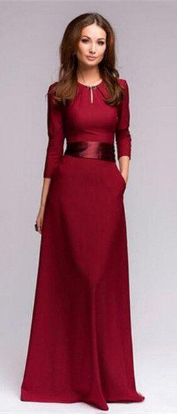 red simple elegant prom dress
