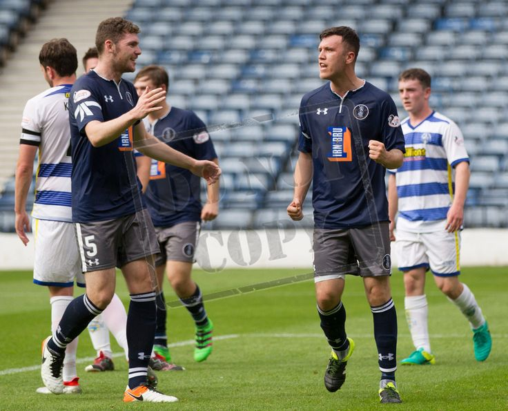 Queen's Park's Adam Cummins celebrates his goal during the IRN-BRU Cup game between Queen's Park and Morton.