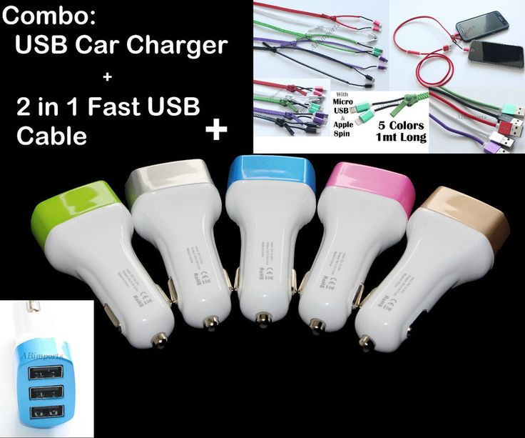 Triple USB Car Charger+FAST USB Cable iPhone 5S 6S iPad,Micro 2.0 Galaxy S4 S6