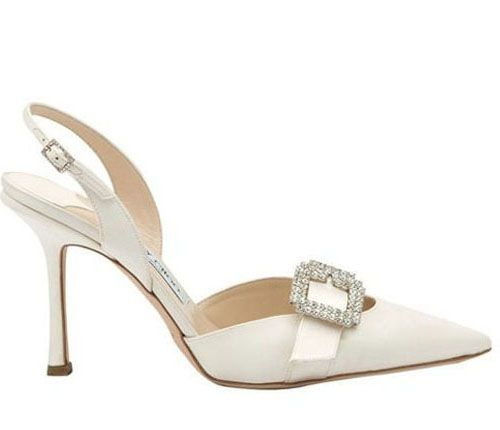 Fisher These Are Pretty And Not To High. Jimmy Choo Diamante Pointed  Slingback Bridal Shoes White On Sale