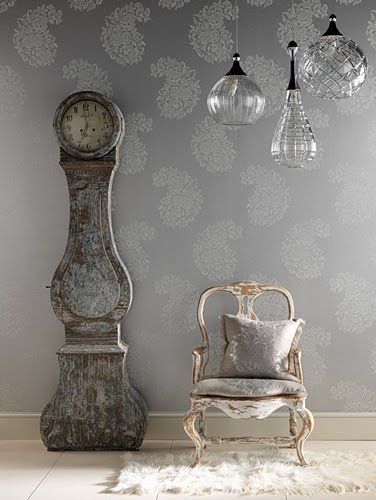 Love the chair, the wallpaper and the lights <3 UK photographer Lucinda Symons