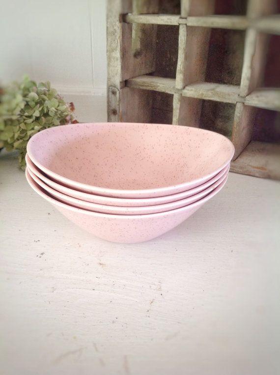 Vintage Vernon Ware Pink Bowls|Tickled Pink Bowls|Pink Cottage Chic Bowls|Cottage Chic Shower|Vintage Pink Speckled Bowls|Vernonware Pink on Etsy, $36.00