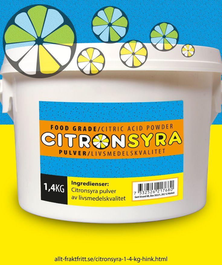 Citronsyra 1,4 kg hink - Citronsyra, livsmedelsgodkänd till drycker, godis, tvätt och avkalkning av livsmedelsytor, avkalkning av alla sorters maskiner, tvättmaskinrengöring etc.
