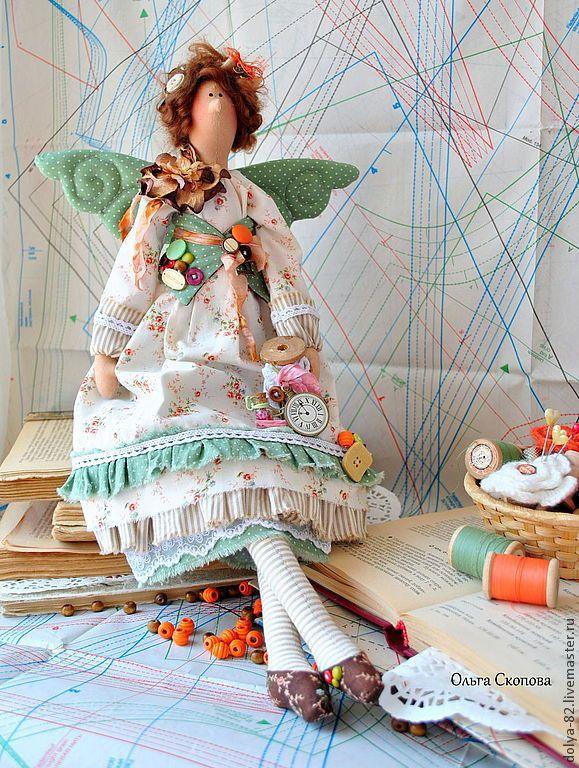 """Купить Тильда портниха. """"Рукодельница"""" - портниха, швея, дизайнер, ткани, хлопок, иголка, катушка деревянная"""