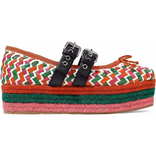 Miu Miu Bow-embellished woven leather platform espadrilles (1.685 RON) ❤ liked on Polyvore featuring shoes, sandals, orange, orange espadrilles, bow platform sandals, platform sandals, bow sandals and espadrille sandals