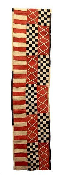 Kuba, Ngeende Dance Skirt, 15'4 x 23 in. Shown: an 8 foot length. Good info about Kuba cloth. via Hamill Gallery