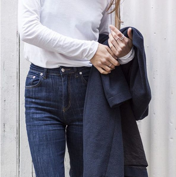 Classic Melbourne Style, featuring our Sylvia Turtle Neck in white as well as our Skinny denim in Besson!