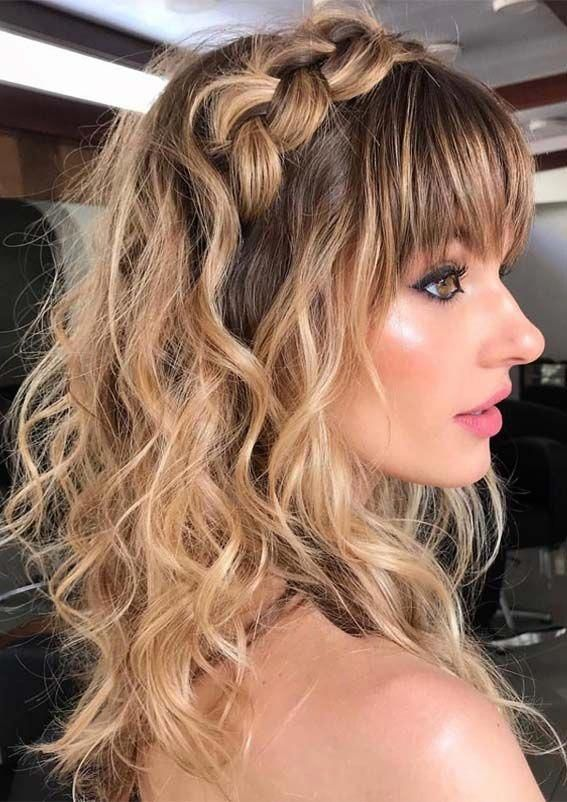 Stylish Ideas Of Long Braids And Wedding Hairstyles With Front Bangs And Fringes In 2019 See Here And Le In 2020 Front Hair Styles Bridal Hair Down Wedding Hair Bangs