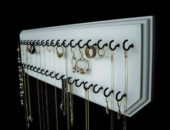 6x20-White 37-Black, Jewelry Holder Necklace Organizer with 37 Coated Jewelry Hooks Assembled.