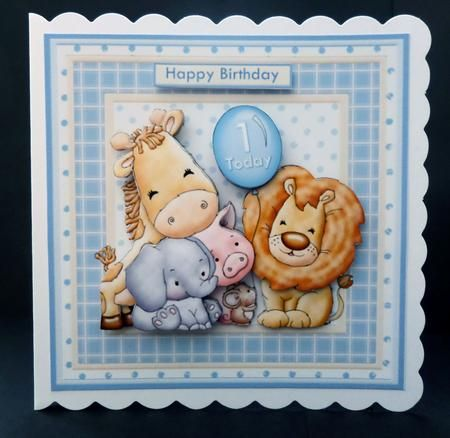 ANIMAL CREW Baby Boy or Birthday Mini Kit With Ages on Craftsuprint designed by Janet Briggs - made by Bernie Mclaughlin
