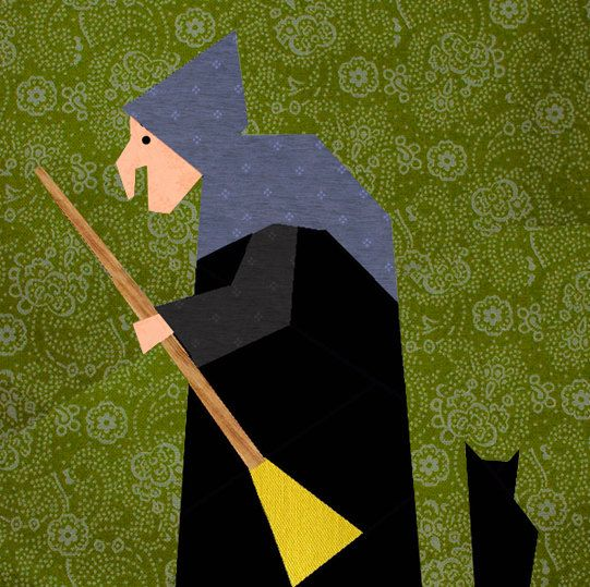 The old Witch paper pieced quilt block pattern PDF. $2.90