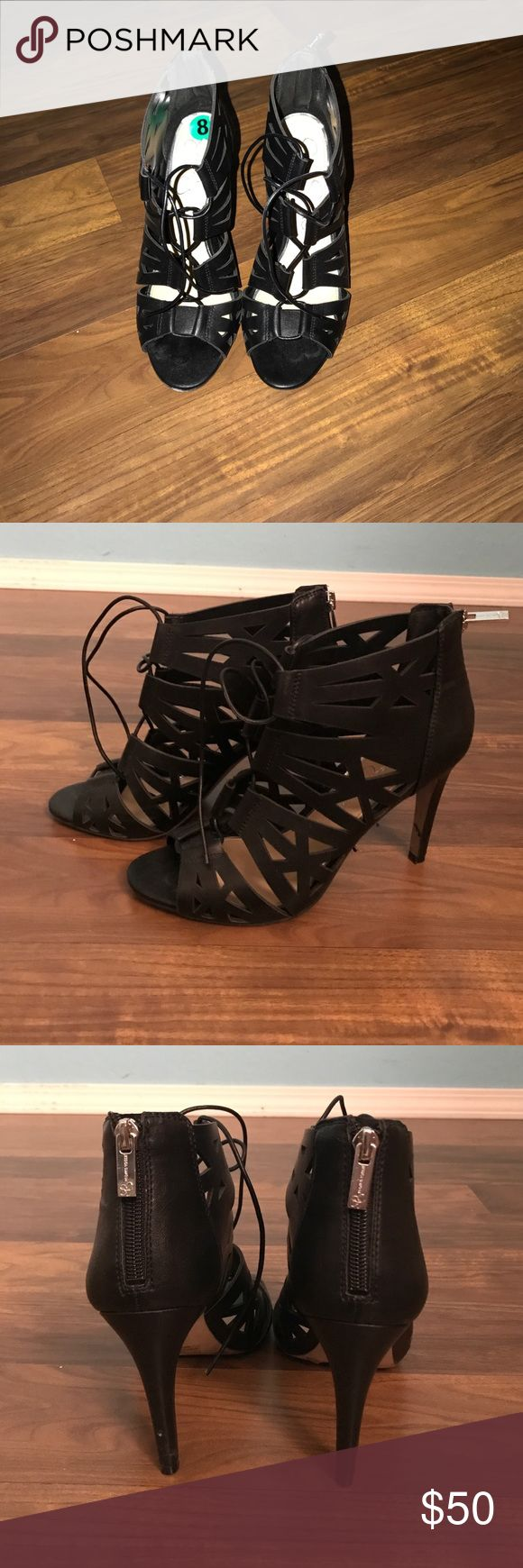 Jessica Simpson heels These heels were worn one time unfortunately they fit me a little big. They are a great pair of heels, super comfortable and easy to pair with any outfit ! They have a zipper in the back as well as a lace up detail on the front. Amazing pair to add to any woman's collection of heels ‼️ I am open to offers but NO LOW BALLING ‼️😊 Jessica Simpson Shoes Heels