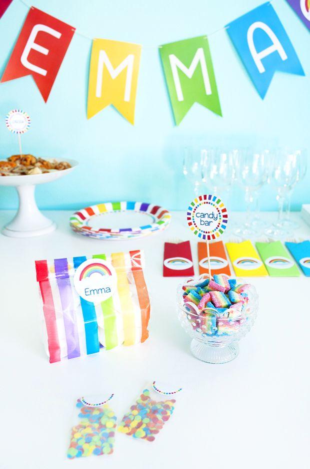 Tutti i colori dell'arcobaleno per il compleanno di Emma #rainbow # arcobaleno #partykit #birthdayparty