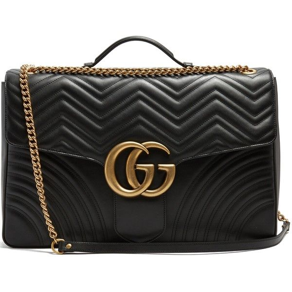 Gucci GG Marmont maxi quilted-leather shoulder bag ($3,175) ❤ liked on Polyvore featuring bags, handbags, shoulder bags, chevron purse, chain strap shoulder bag, gucci, quilted leather shoulder bag and chevron handbag