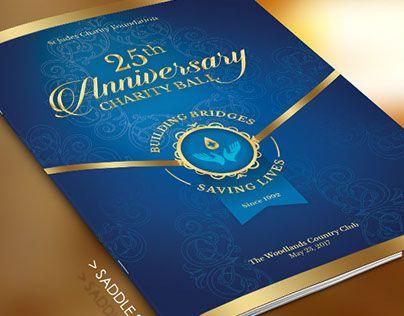 Blue Anniversary Gala Program Cover Template | Pastor ...