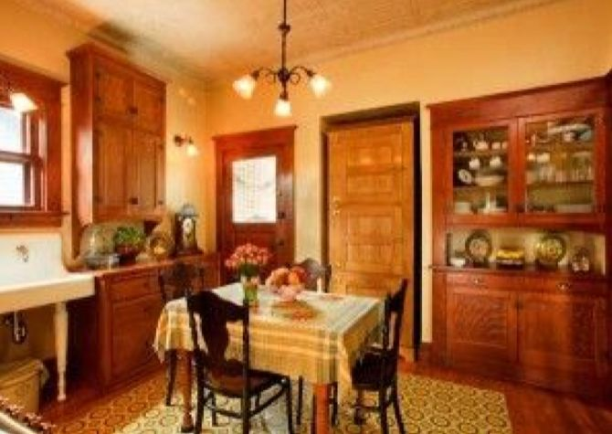 Authentic Turn Of The Century Kitchen Unfitted Pieces Plain Walls And Center Table Are In Keeping With Period House
