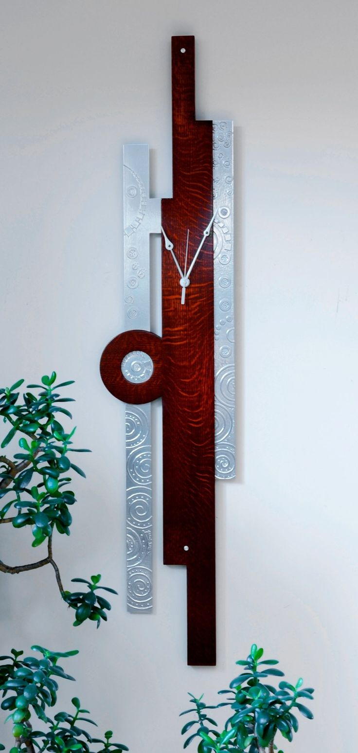 Any Way Curly Oak Wall Clock by Evy Rogers: Wood and Metal Clock available at www.artfulhome.com