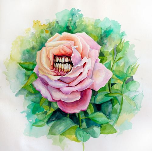 Like a very scary version of the flowers in Alice In Wonderland (Disney).