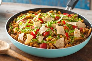 One-Pan Taco Beef and Noodle Skillet recipe - For added heat, stir in desired amount of hot pepper sauce or cayenne pepper along with the sour cream and Cheese Sauce Mix.