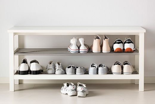 maybe 2 of these rt next to each other? w seat cushions on top; maybe baskets for each kid's shoes