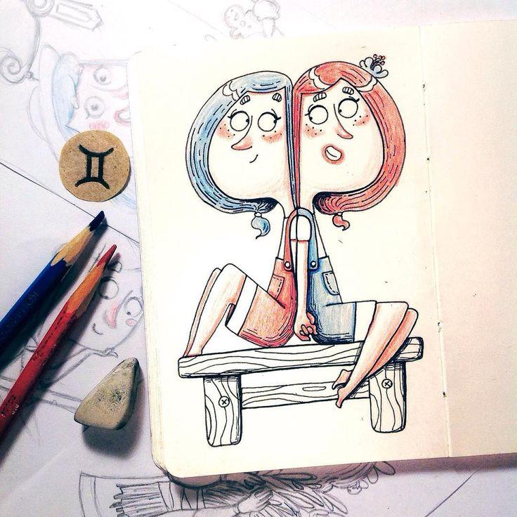 276 отметок «Нравится», 14 комментариев — Anna Gorlach (@anya_gorlach) в Instagram: «Я и моя сестра близняшка @yana_havana✨ Девятый день #рисуюанесплю и знак зодиака - близнецы👯  Всем…»