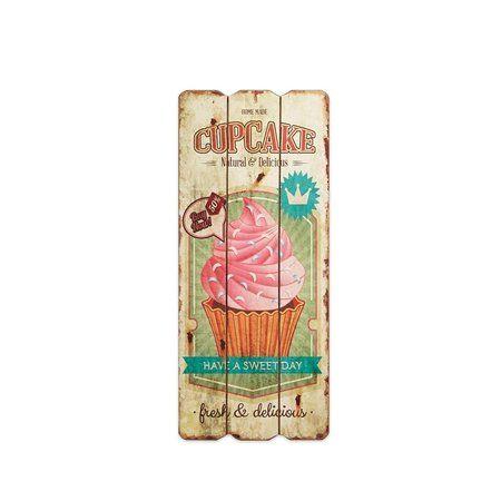 Placa Decorativa de Madeira Cupcake Bege 35x15 - Mimeria   Mimos e Presentes Fofos