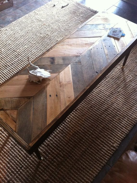 This reclaimed barn wood chevron coffee table will be mine!