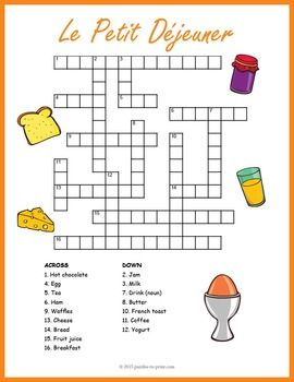 This crossword puzzle gives the clues in English and students must answer with the French equivalent.  Features 16 words they are likely to find at le petit djeuner.  Crossword puzzles make great vocabulary building tools and are a lot of fun for students.