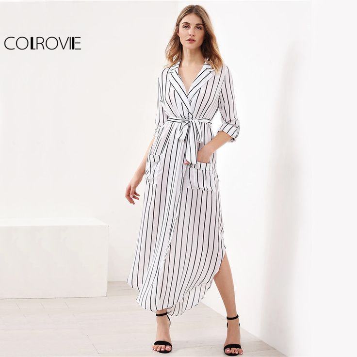 Price: $23.48 Like and Share if you want this     Get it here ---> https://www.yamidoo.com/colrovie-white-striped-maxi-shirt-dress-2017-casual-slit-side-women-elegant-belted-summer-dresses-curved-hem-lapel-work-dress/    #accessories