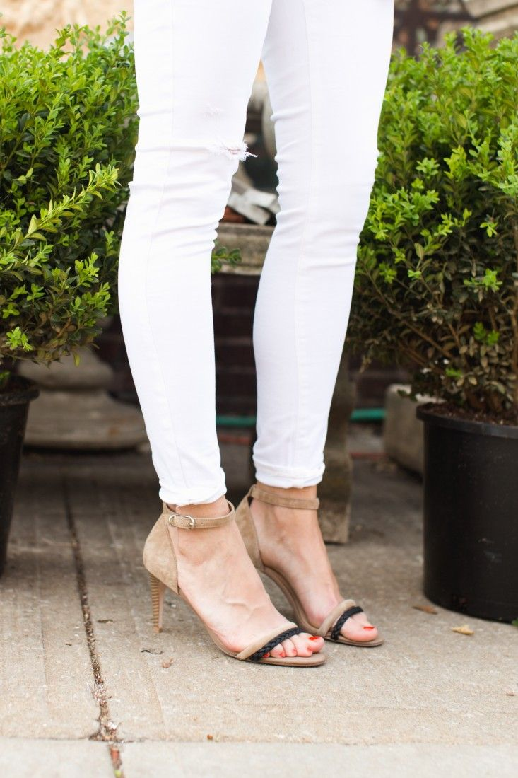 Taupe/Black Strappy Heel Perfect For A Nice Spring Day