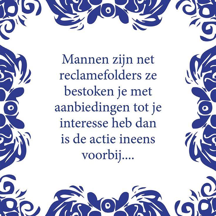 Tegeltjeswijsheid.nl - een uniek presentje - Mannen zijn net reclamefolders