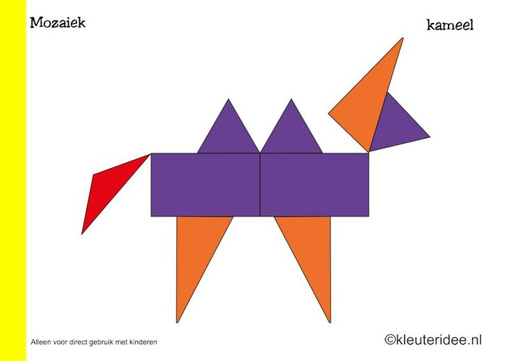 Tien mozaiek voorbeeldkaarten voor kleuters 4, kameel, kleuteridee.nl , Preschool mosaic patterns, free printable.