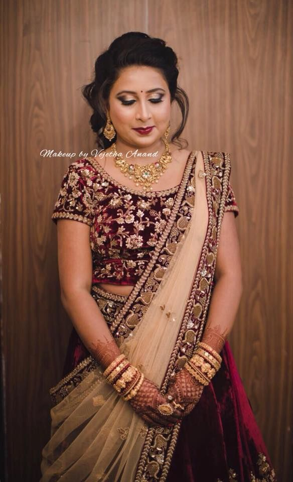Megha Rocks Her Engagement Look Hair And Makeup By Vejetha For