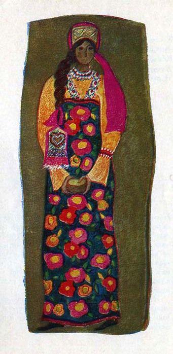 Девичий костюм крестьянки Тамбовской губернии. Костюм состоит из цветной рубахи, сборчатого сарафана из цветной ткани в крупный рисунок и широкой ленты-повязки на голову. Повязка украшена нашивкой из золотного шитья. Нарядность костюму придают жемчужное ожерелье и косник, шитый жемчугом и цветным бисером.