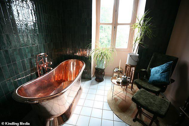 The Potagerie Suite Bathroom At The Chateau De La Motte Husson With Its Recycled Copper Ba French Country Bathroom Chateaux Interiors French Chateau Interiors