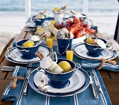 I dream of: Favorite Summer Flavors: Lobster party tablescape by earline