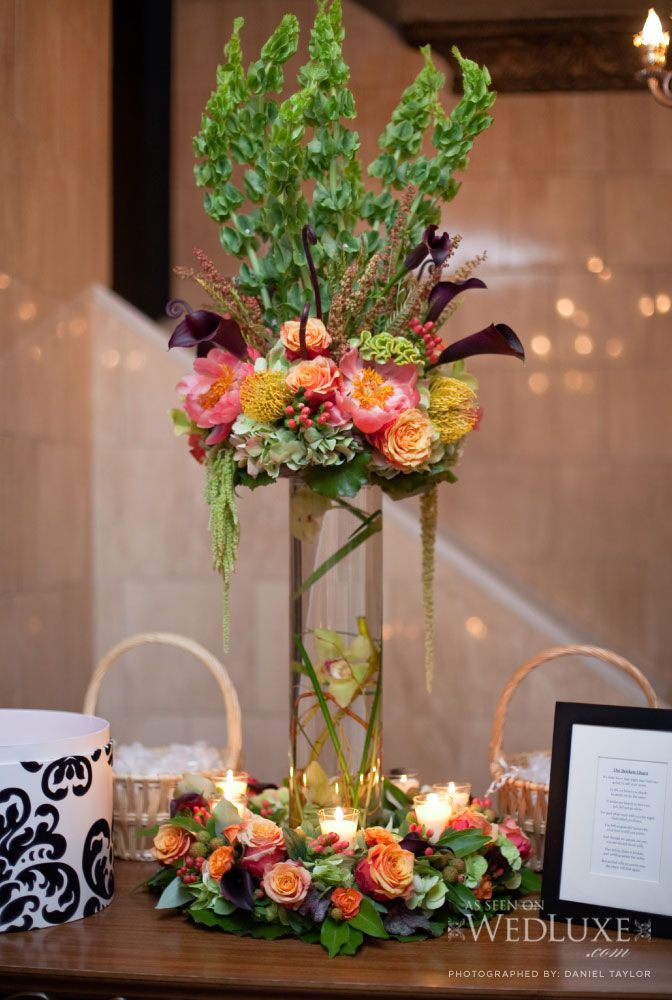Tall Centerpiece Arrangement with Calla Lilies, Roses, Bells of Ireland and Votive Candles