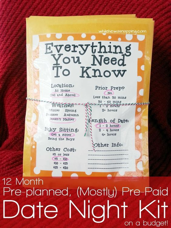 12 Month, Pre-planned, (Mostly) Pre-Paid Date Night Kit {on a Budget}. Ideas on what to do, how to pay for it, and how to present your gift.