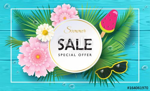 Vector: Weekend Sale special offer Summer banner. Palm leaves frame with exotic flowers on blue wood texture. Realistic Advertising flyer Vector.