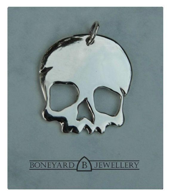 Sterling Silver Skull Pendant by BoneyardJewellery on Etsy, £24.99