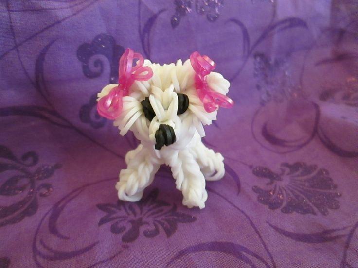 Rainbow Loom Bichon Frise Dog or Puppy Charm. 3-D