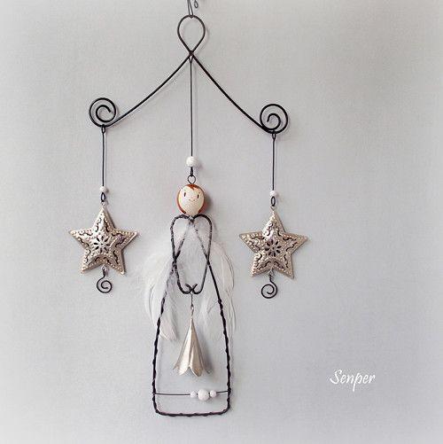 Andělský závěs - hvězdičkový stříbrný