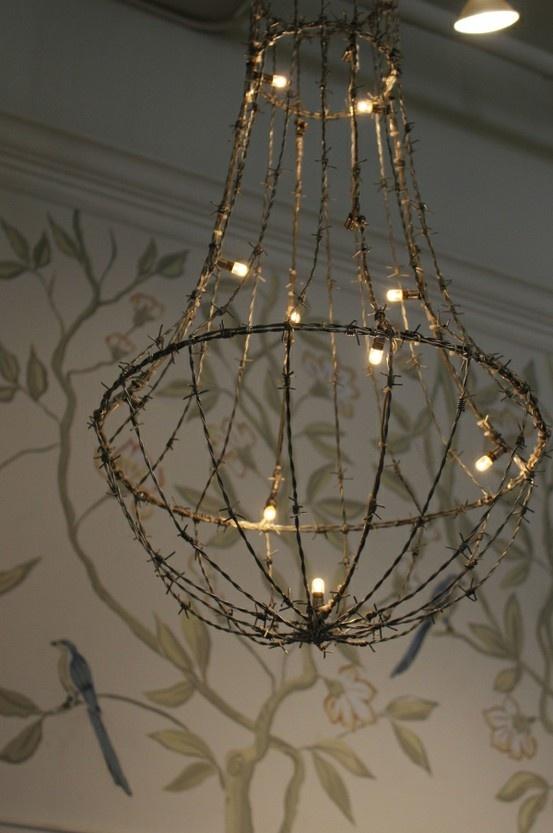 barbed wire chandelier