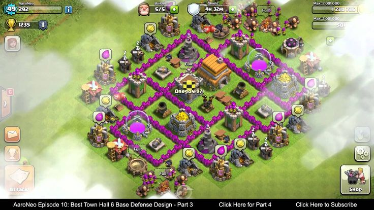 clash of clans defense base th8 4 mortars