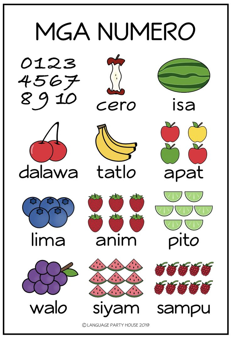 Numbers in Tagalog / Filipino Printables Learn