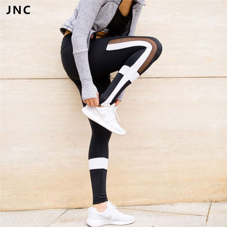 Women Black & White Color Contrast Sports Yoga Pants See Through Mesh Workout Clothes for Women Running Tights