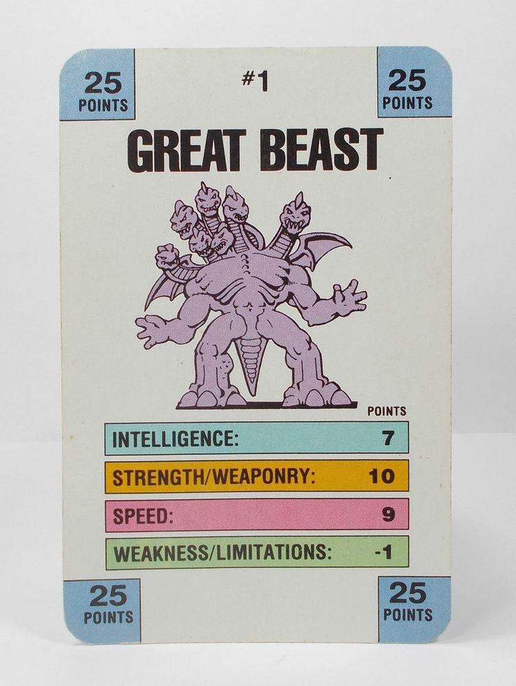 Monster In My Pocket Series 1 - 1 Great Beast Battle Card Matchbox M.I.M.P.