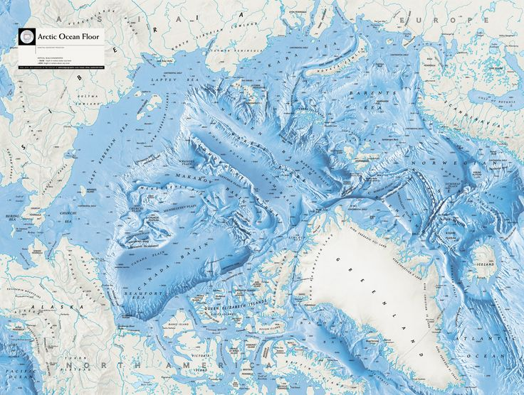 large detailed arctic ocean floor map from national geographic