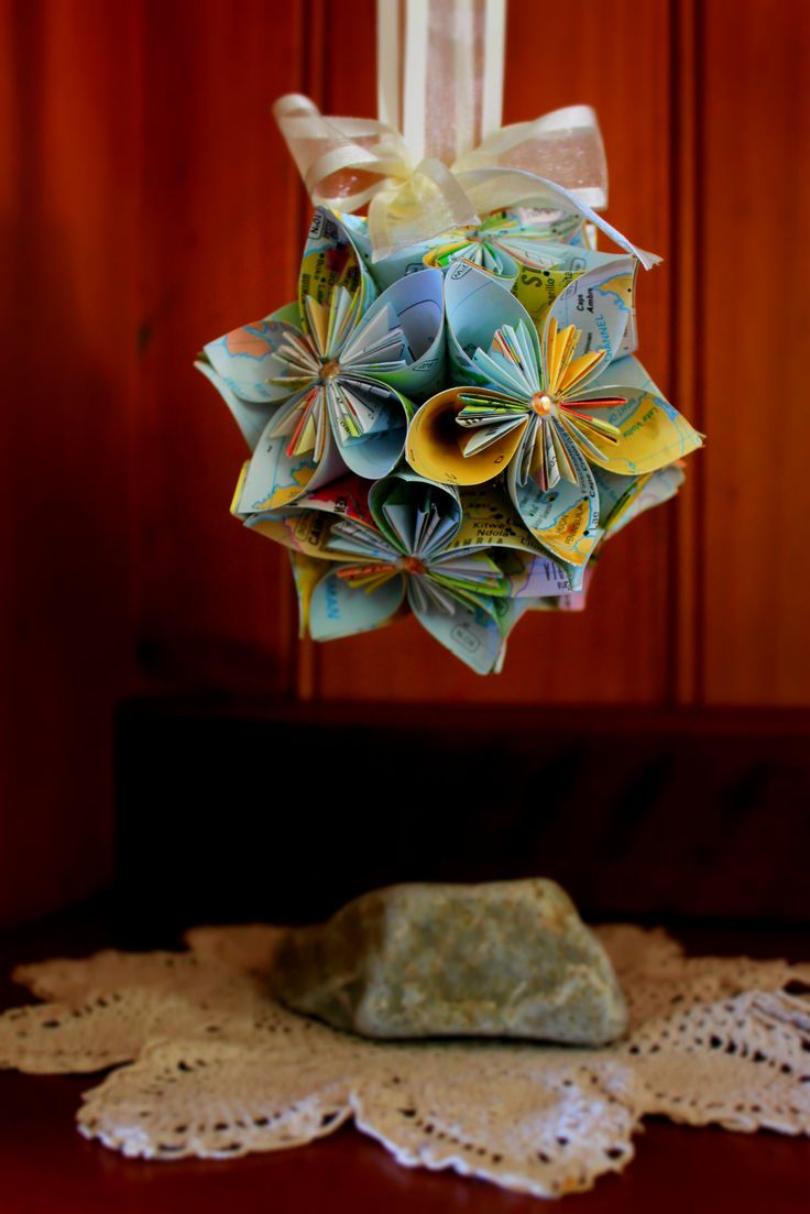 Map Paper Flower Ball $24.95